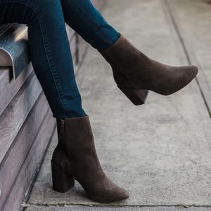 Thursday Dark Olive Suede Booties